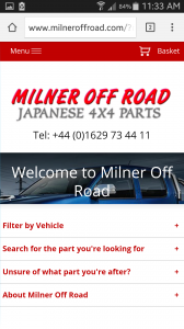 Milner Off Road Mobile Website