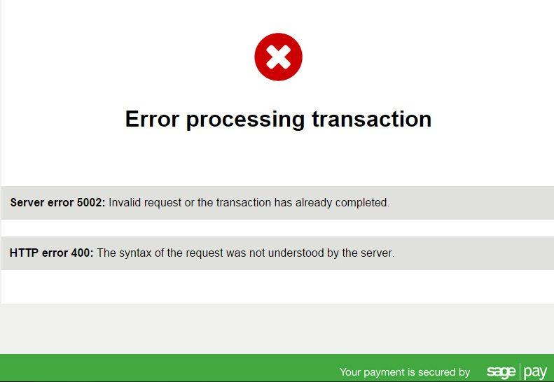 SagePay Timeout Error 3d Secure FAIL
