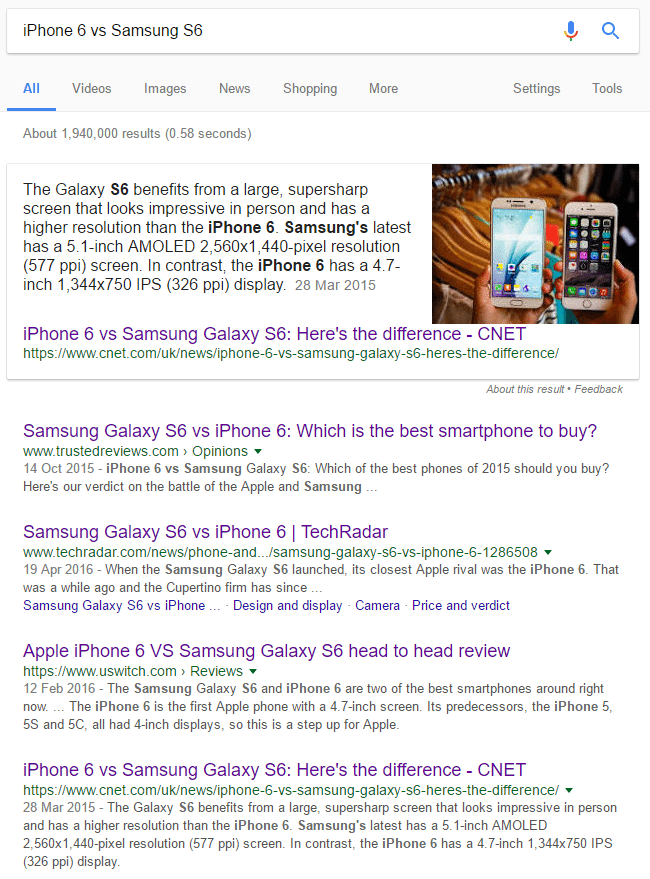 iphone 6 vs samsung s6 - serp
